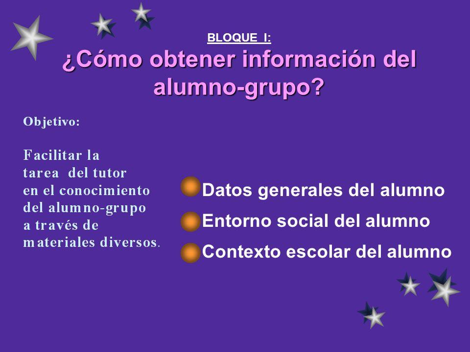 ¿Cómo obtener información del alumno-grupo? BLOQUE I: ¿Cómo obtener información del alumno-grupo? Datos generales del alumno Entorno social del alumno
