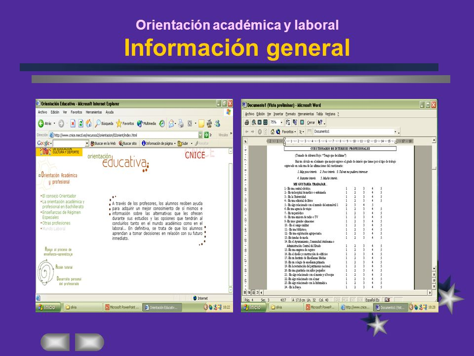 Orientación académica y laboral Información general