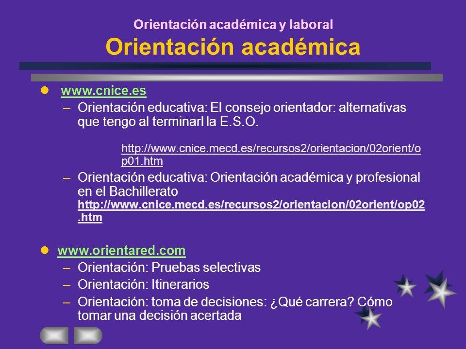 Orientación académica y laboral Orientación académica www.cnice.es –Orientación educativa: El consejo orientador: alternativas que tengo al terminarl