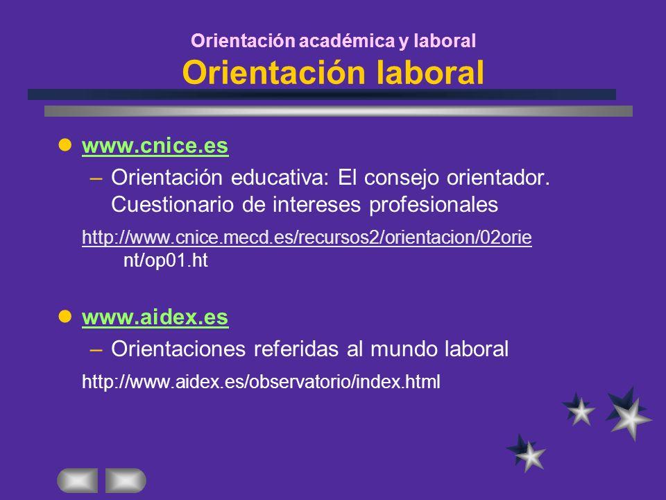 Orientación académica y laboral Orientación laboral www.cnice.es –Orientación educativa: El consejo orientador. Cuestionario de intereses profesionale
