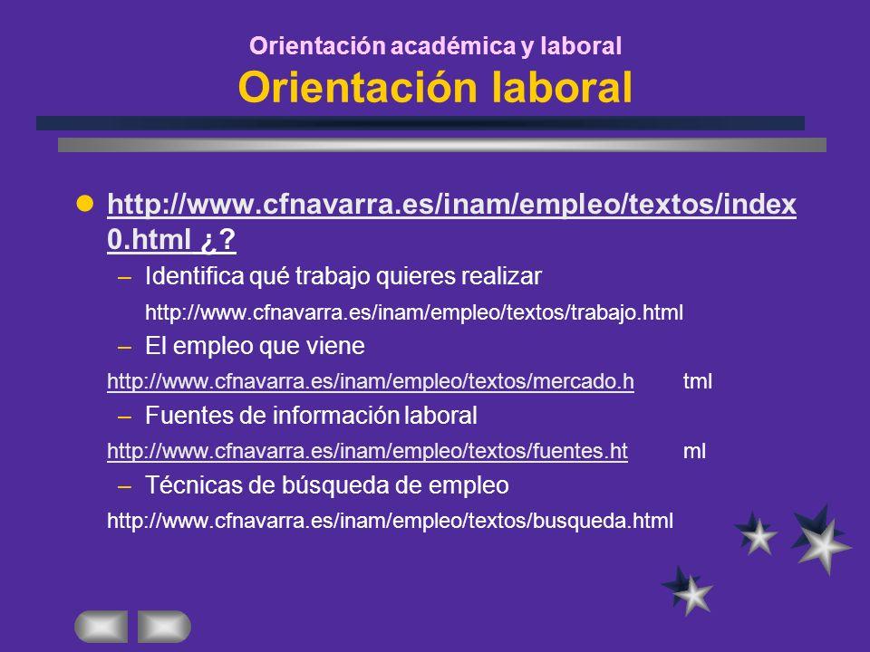 Orientación académica y laboral Orientación laboral http://www.cfnavarra.es/inam/empleo/textos/index 0.html ¿? http://www.cfnavarra.es/inam/empleo/tex