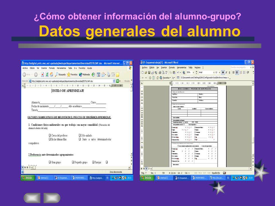 ¿Cómo obtener información del alumno-grupo? Datos generales del alumno