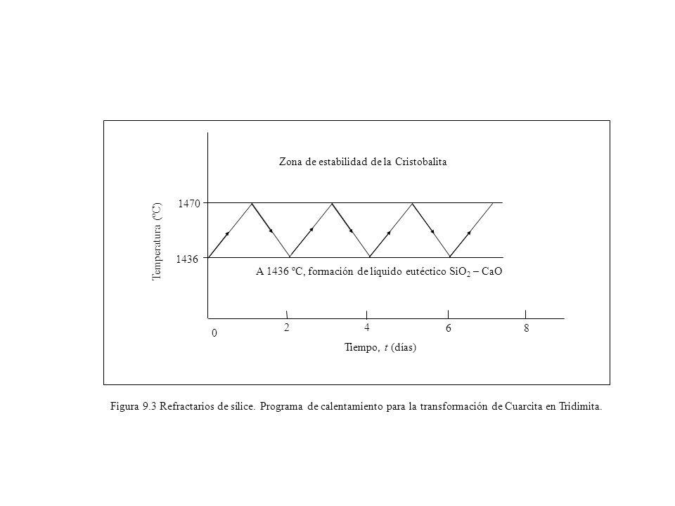 1436 1470 Tiempo, t (días) A 1436 ºC, formación de líquido eutéctico SiO 2 – CaO Zona de estabilidad de la Cristobalita 0 24 68 Temperatura (ºC) Figur