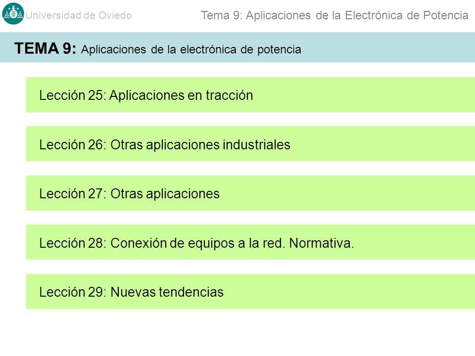 Universidad de Oviedo Tema 9: Aplicaciones de la Electrónica de Potencia TEMA 9: Aplicaciones de la electrónica de potencia Lección 25: Aplicaciones en tracción Lección 26: Otras aplicaciones industriales Lección 28: Conexión de equipos a la red.