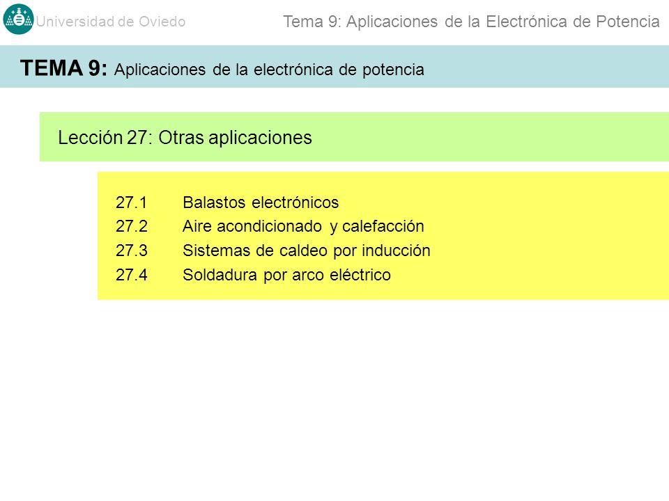 Universidad de Oviedo Tema 9: Aplicaciones de la Electrónica de Potencia 27.1Balastos electrónicos 27.2Aire acondicionado y calefacción 27.3Sistemas de caldeo por inducción 27.4Soldadura por arco eléctrico Lección 27: Otras aplicaciones TEMA 9: Aplicaciones de la electrónica de potencia