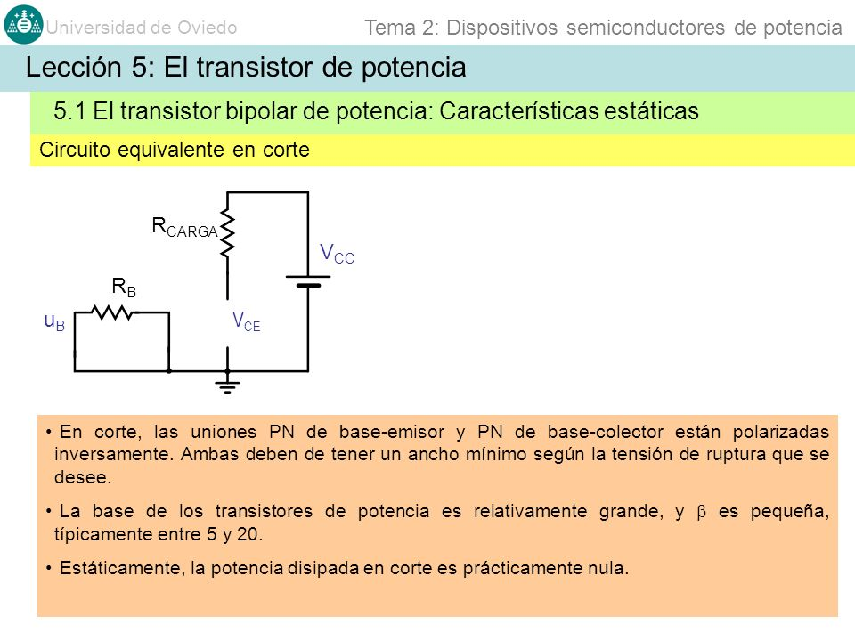 Universidad de Oviedo Tema 2: Dispositivos semiconductores de potencia En corte, las uniones PN de base-emisor y PN de base-colector están polarizadas