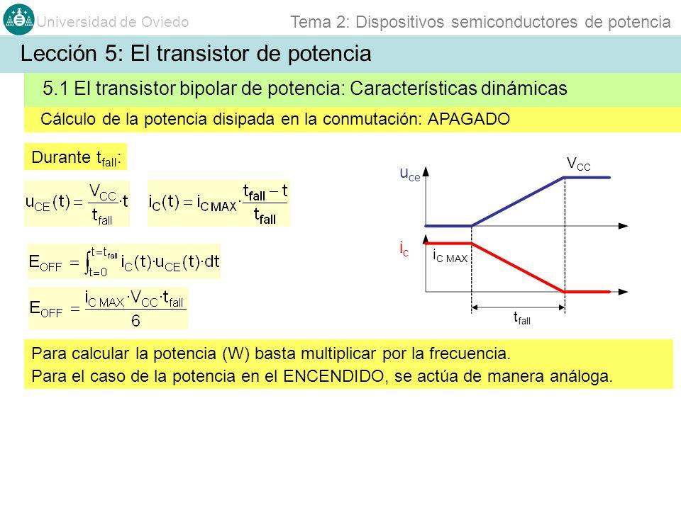 Universidad de Oviedo Tema 2: Dispositivos semiconductores de potencia Cálculo de la potencia disipada en la conmutación: APAGADO u ce icic i C MAX 5.