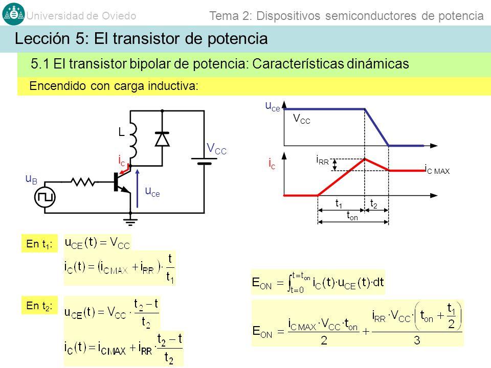 Universidad de Oviedo Tema 2: Dispositivos semiconductores de potencia Encendido con carga inductiva: 5.1 El transistor bipolar de potencia: Caracterí