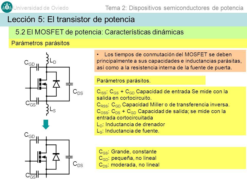 Universidad de Oviedo Tema 2: Dispositivos semiconductores de potencia C DS Los tiempos de conmutación del MOSFET se deben principalmente a sus capaci