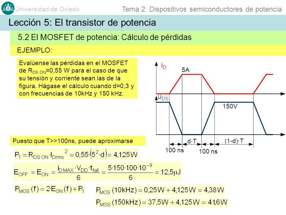 Universidad de Oviedo Tema 2: Dispositivos semiconductores de potencia EJEMPLO: 5.2 El MOSFET de potencia: Cálculo de pérdidas Lección 5: El transisto