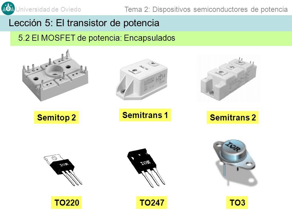 Universidad de Oviedo Tema 2: Dispositivos semiconductores de potencia Semitrans 2 Semitrans 1 TO247TO220TO3 Semitop 2 Lección 5: El transistor de pot