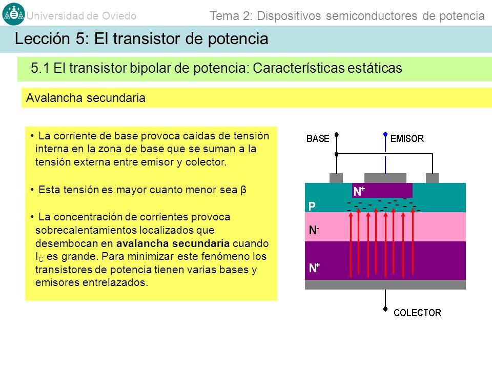Universidad de Oviedo Tema 2: Dispositivos semiconductores de potencia La corriente de base provoca caídas de tensión interna en la zona de base que se suman a la tensión externa entre emisor y colector.