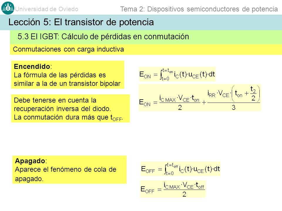 Universidad de Oviedo Tema 2: Dispositivos semiconductores de potencia Debe tenerse en cuenta la recuperación inversa del diodo. La conmutación dura m