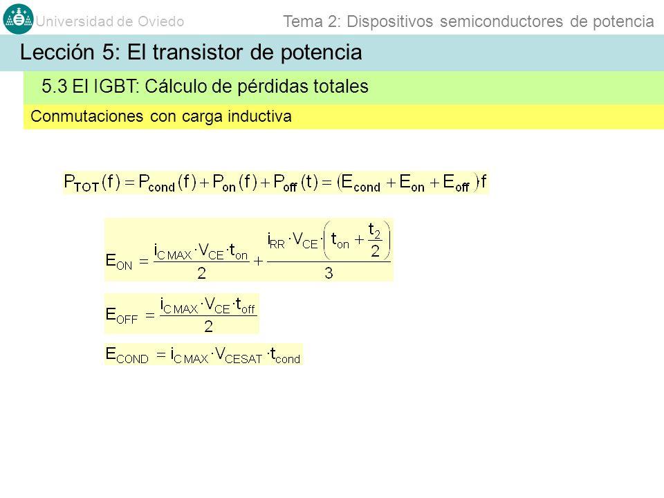 Universidad de Oviedo Tema 2: Dispositivos semiconductores de potencia Conmutaciones con carga inductiva 5.3 El IGBT: Cálculo de pérdidas totales Lecc