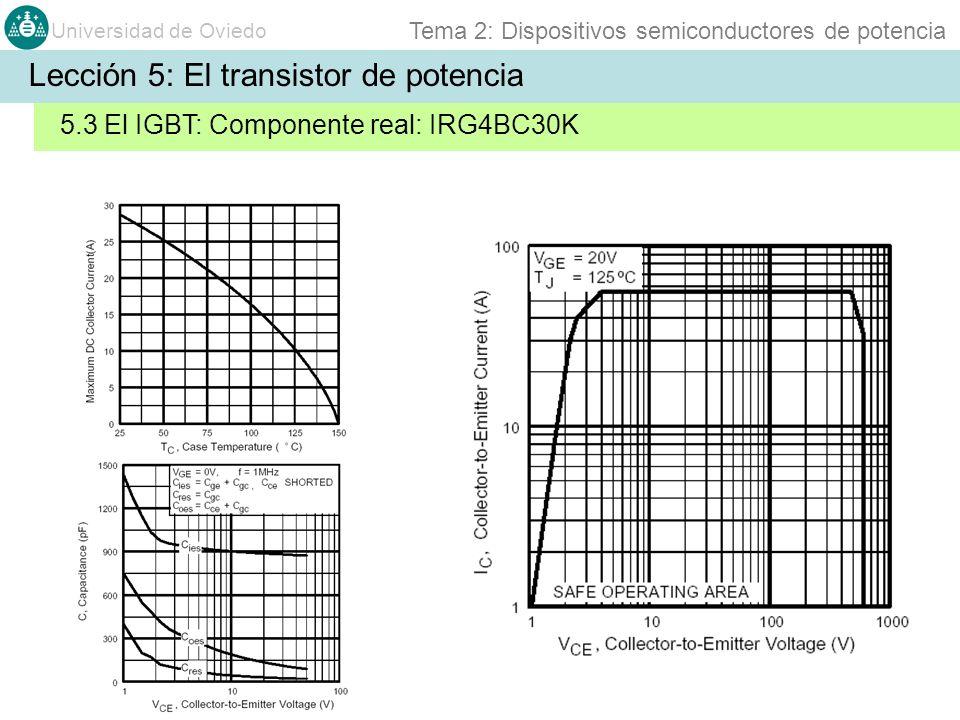 Universidad de Oviedo Tema 2: Dispositivos semiconductores de potencia Lección 5: El transistor de potencia 5.3 El IGBT: Componente real: IRG4BC30K