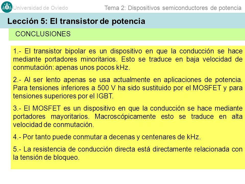 Universidad de Oviedo Tema 2: Dispositivos semiconductores de potencia 1.- El transistor bipolar es un dispositivo en que la conducción se hace median