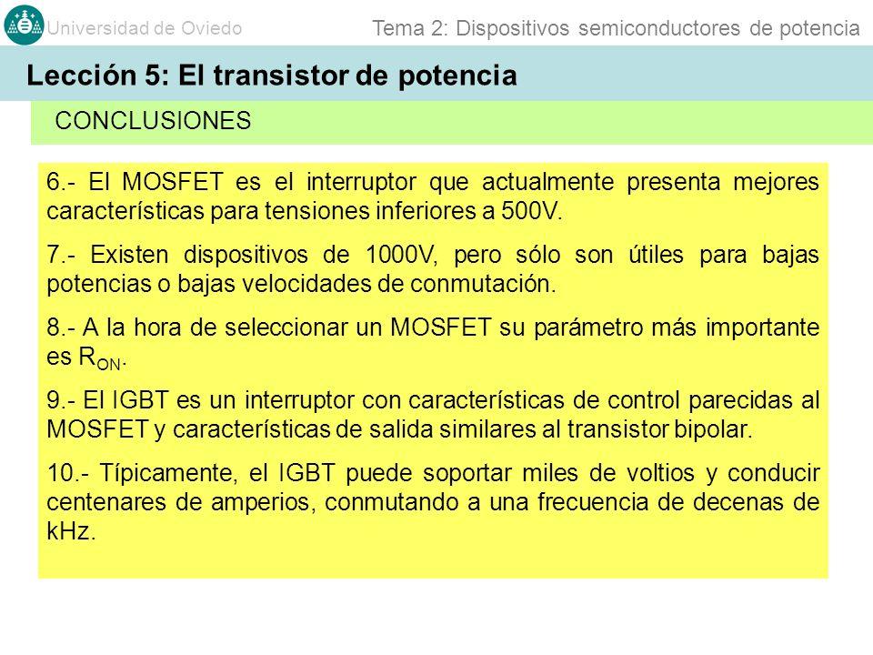 Universidad de Oviedo Tema 2: Dispositivos semiconductores de potencia 6.- El MOSFET es el interruptor que actualmente presenta mejores característica