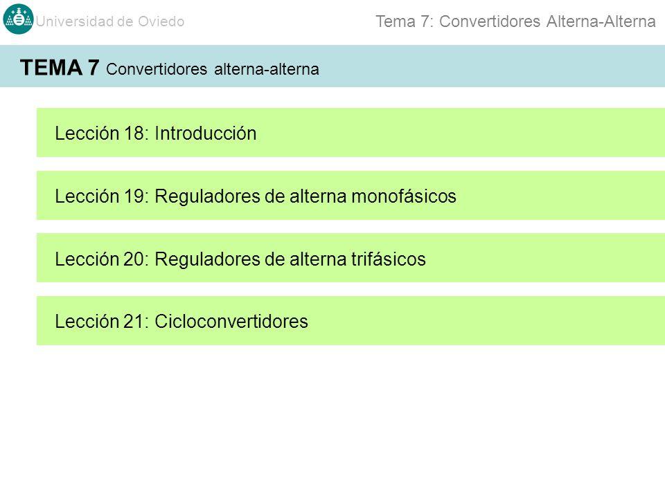 Universidad de Oviedo Tema 7: Convertidores Alterna-Alterna TEMA 7 Convertidores alterna-alterna Lección 18: Introducción Lección 19: Reguladores de a