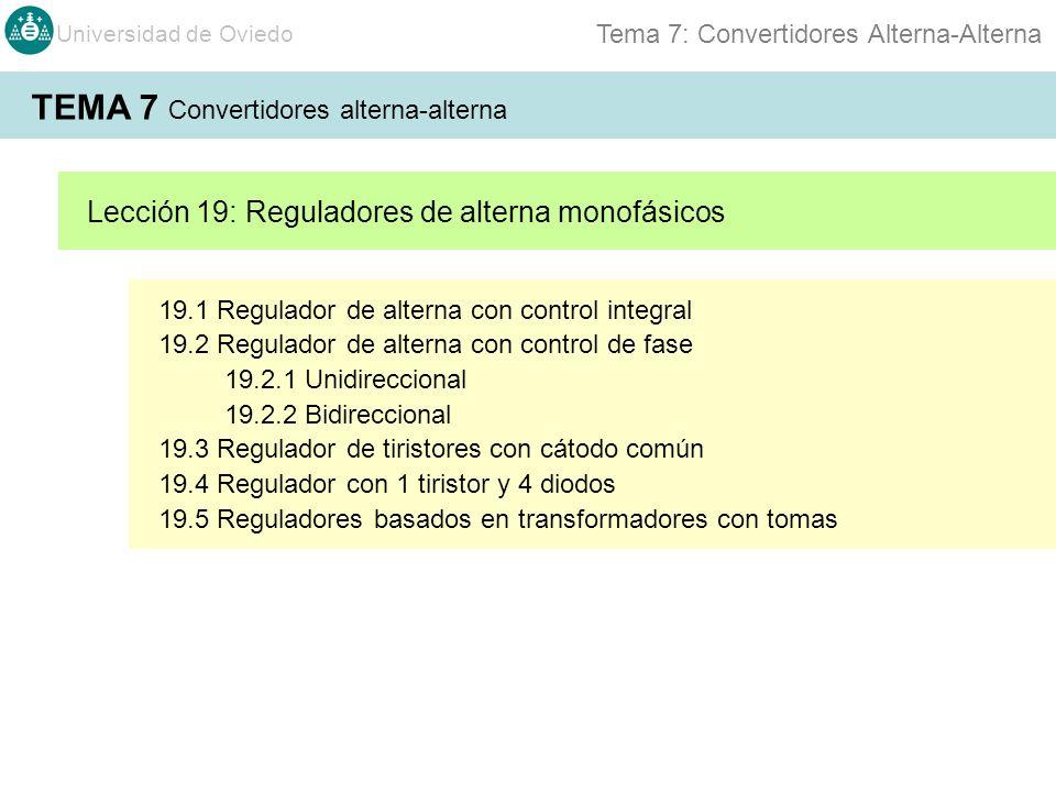 Universidad de Oviedo Tema 7: Convertidores Alterna-Alterna 19.1 Regulador de alterna con control integral 19.2 Regulador de alterna con control de fa