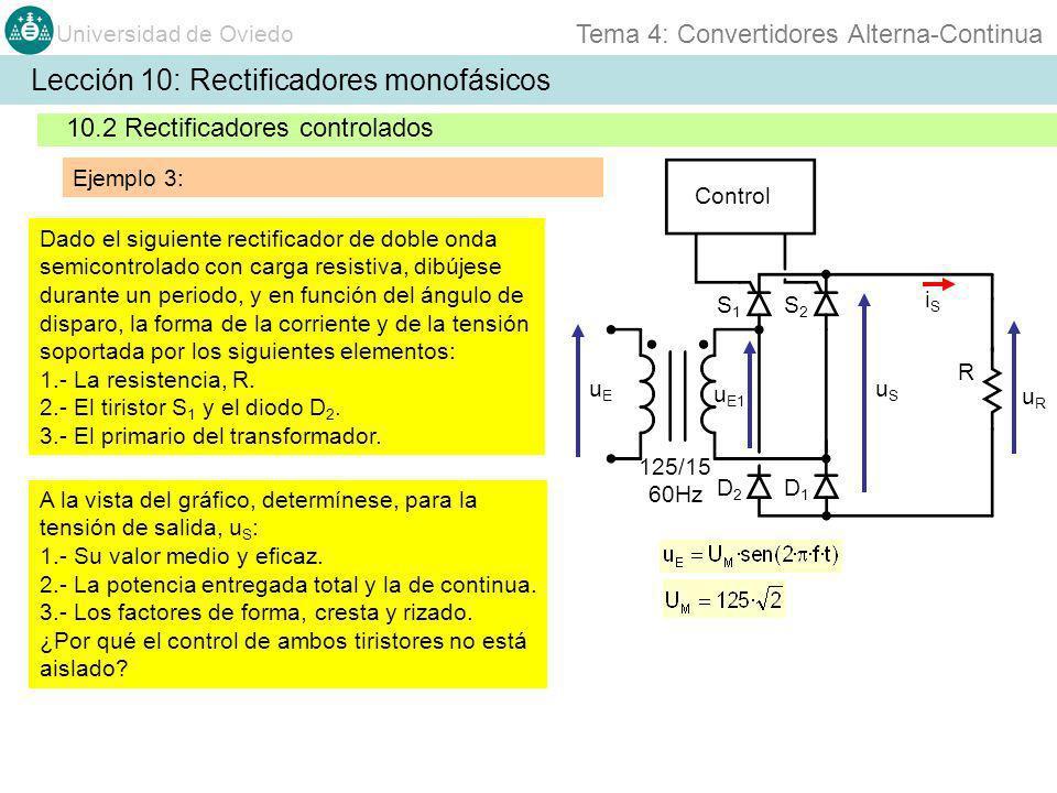 Universidad de Oviedo Tema 4: Convertidores Alterna-Continua Lección 10: Rectificadores monofásicos 10.2 Rectificadores controlados Ejemplo 3: Dado el
