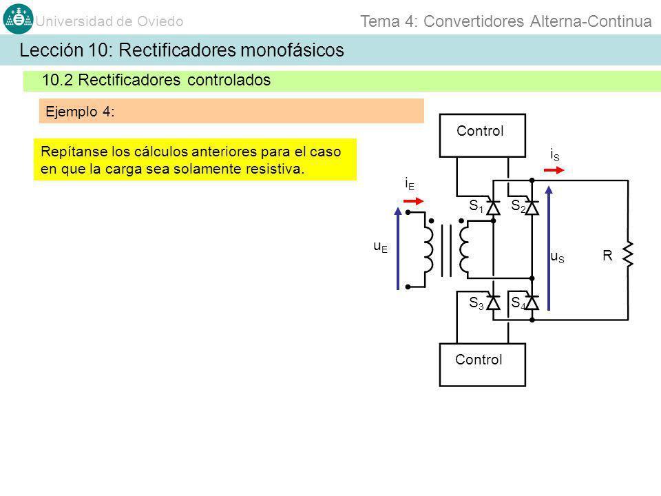 Universidad de Oviedo Tema 4: Convertidores Alterna-Continua Lección 10: Rectificadores monofásicos 10.2 Rectificadores controlados Ejemplo 4: uEuE iS