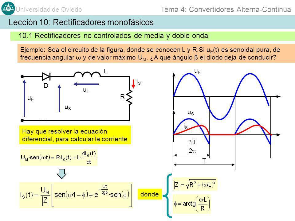 Universidad de Oviedo Tema 4: Convertidores Alterna-Continua Lección 10: Rectificadores monofásicos 10.1 Rectificadores no controlados de media y doble onda Ejemplo: Sea el circuito de la figura, donde se conocen L y R.Si u E (t) es senoidal pura, de frecuencia angular ω y de valor máximo U M.