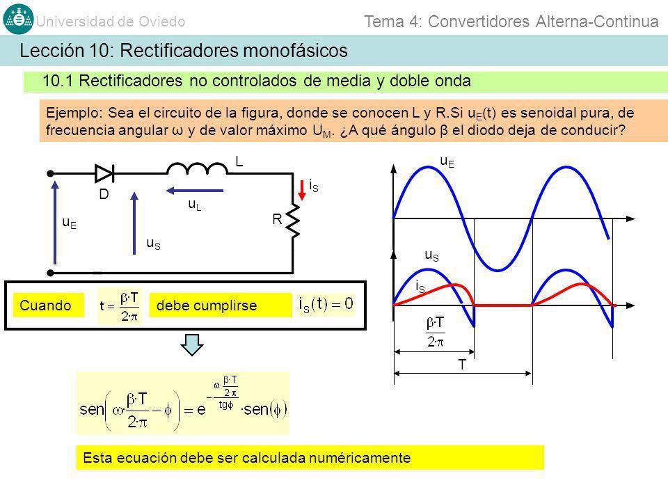Universidad de Oviedo Tema 4: Convertidores Alterna-Continua Lección 10: Rectificadores monofásicos 10.2 Rectificadores controlados Ejemplo 5: uEuE S1S1 uEuE u S1 u S2 L R/2 i S1 i S2 S2S2 S3S3 S4S4 S5S5 S6S6 S7S7 S8S8 uSuS El convertidor monofásico de la figura se opera con 220V y 50 Hz cuando la resistencia R es de 30 y la inductancia L R/2 es de 50mH.