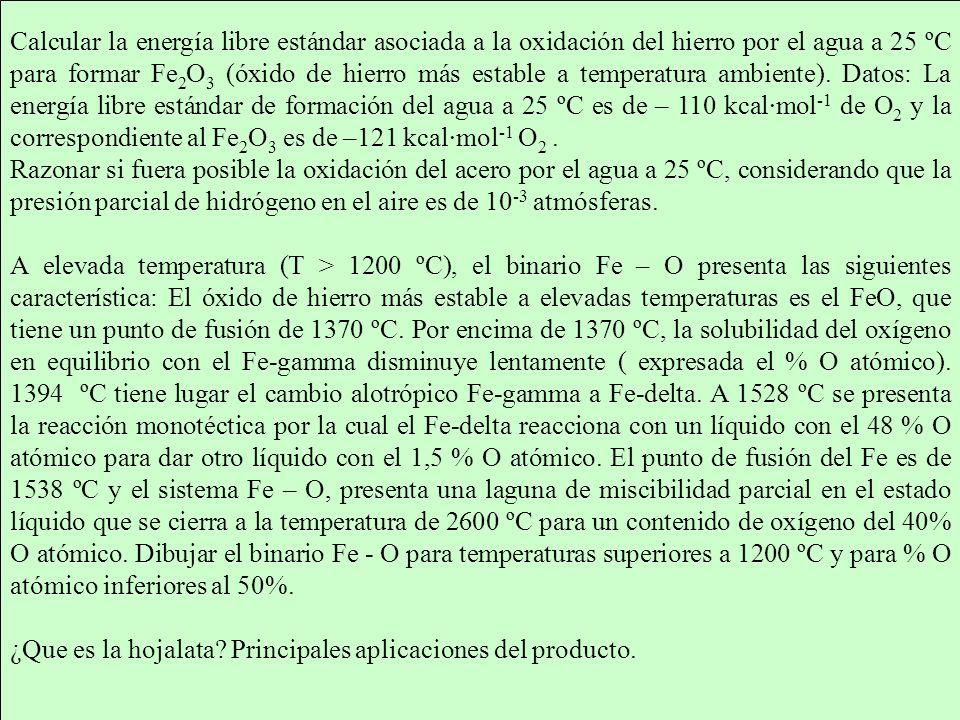 Calcular la energía libre estándar asociada a la oxidación del hierro por el agua a 25 ºC para formar Fe 2 O 3 (óxido de hierro más estable a temperatura ambiente).