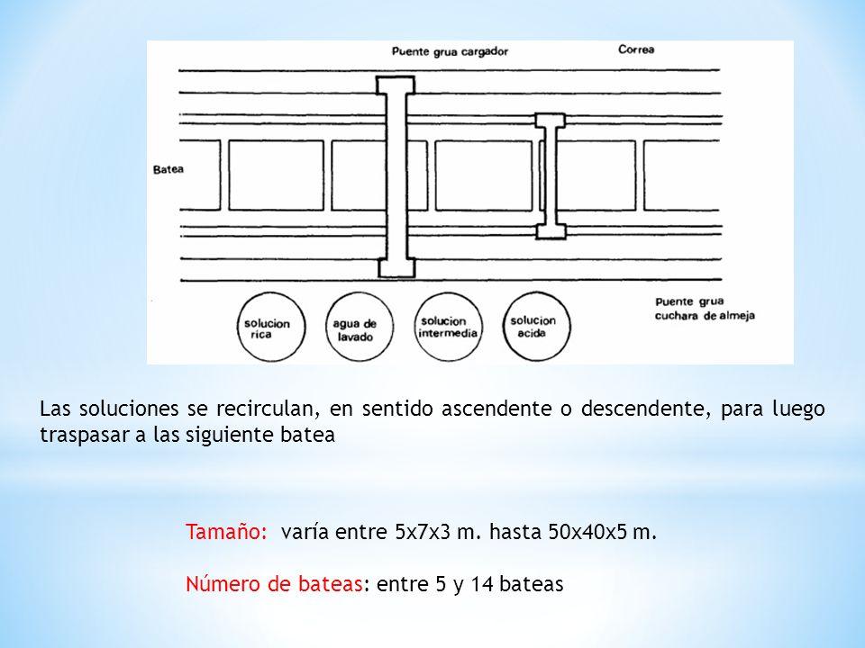 Las soluciones se recirculan, en sentido ascendente o descendente, para luego traspasar a las siguiente batea Tamaño: varía entre 5x7x3 m. hasta 50x40