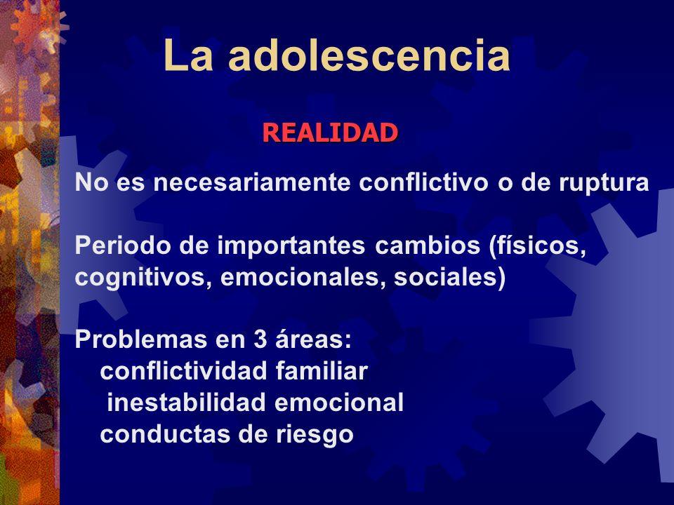 La adolescencia No es necesariamente conflictivo o de ruptura Periodo de importantes cambios (físicos, cognitivos, emocionales, sociales) Problemas en
