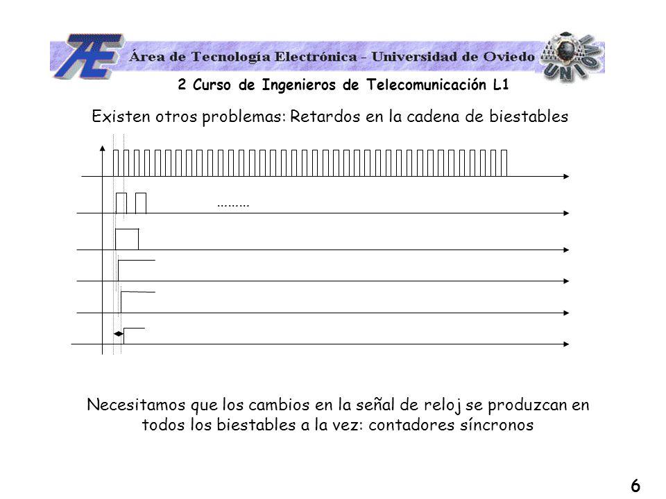 2 Curso de Ingenieros de Telecomunicación L1 7 Podemos conseguir contadores que evolucionen entre dos valores, si además de actuar sobre la entrada de RESET, actuamos sobre la entrada de SET de los biestables.