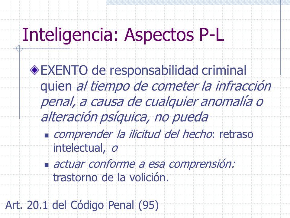 Inteligencia: Aspectos P-L EXENTO de responsabilidad criminal quien al tiempo de cometer la infracción penal, a causa de cualquier anomalía o alteraci