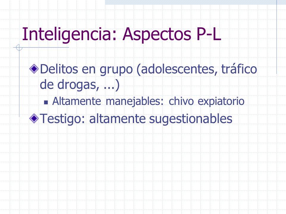 Inteligencia: Aspectos P-L Delitos en grupo (adolescentes, tráfico de drogas,...) Altamente manejables: chivo expiatorio Testigo: altamente sugestiona