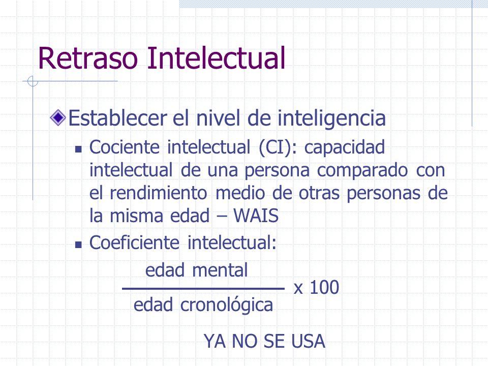 Retraso Intelectual Establecer el nivel de inteligencia Cociente intelectual (CI): capacidad intelectual de una persona comparado con el rendimiento m