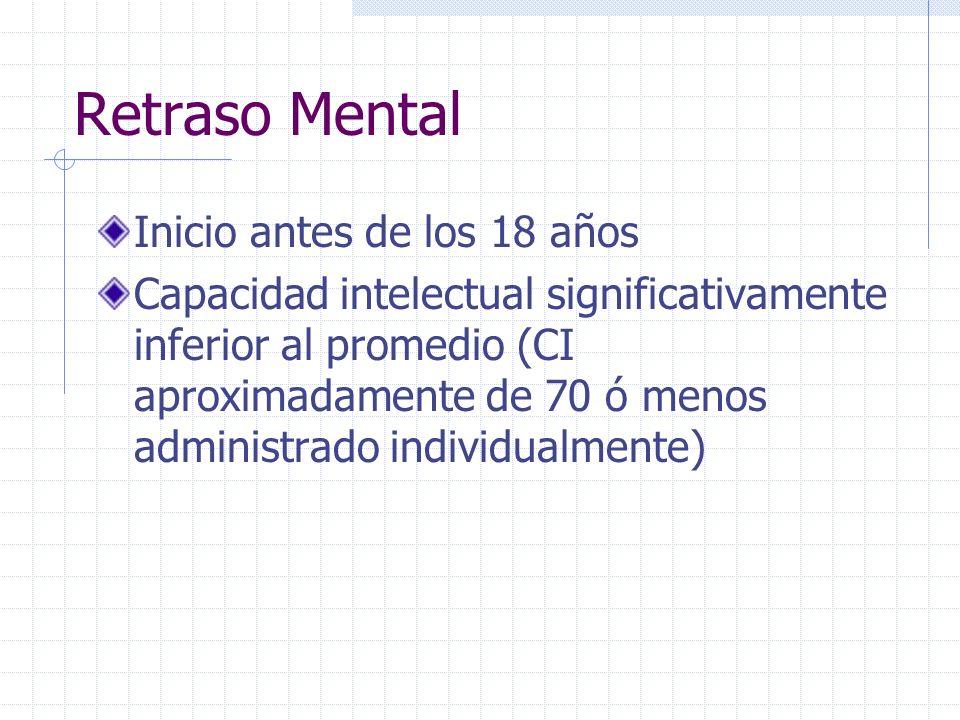 Retraso Mental Inicio antes de los 18 años Capacidad intelectual significativamente inferior al promedio (CI aproximadamente de 70 ó menos administrad