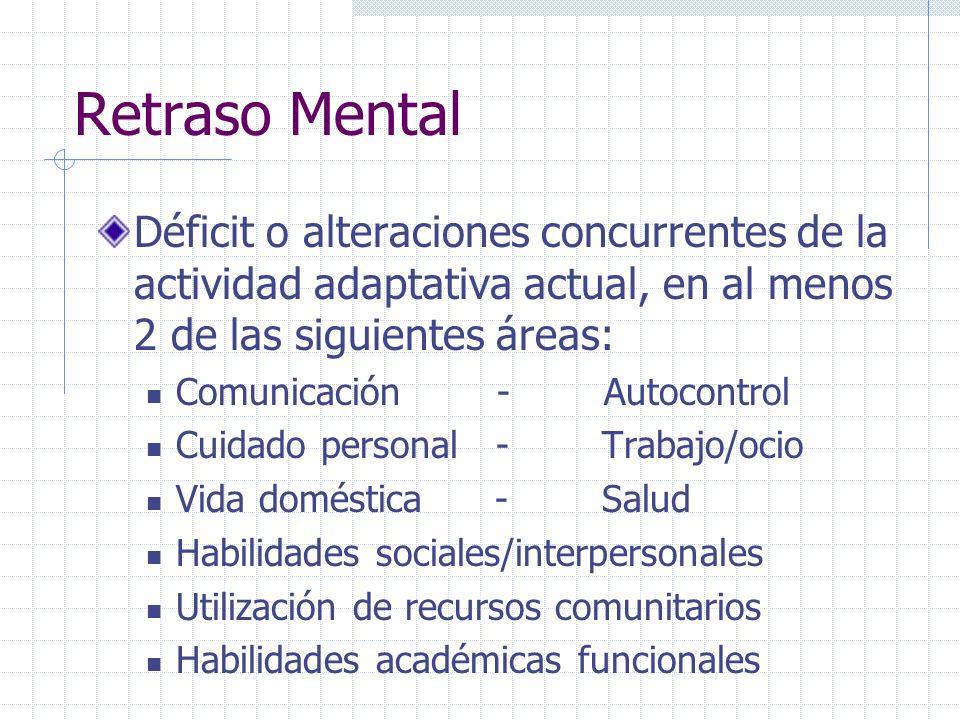 Retraso Mental Déficit o alteraciones concurrentes de la actividad adaptativa actual, en al menos 2 de las siguientes áreas: Comunicación - Autocontro
