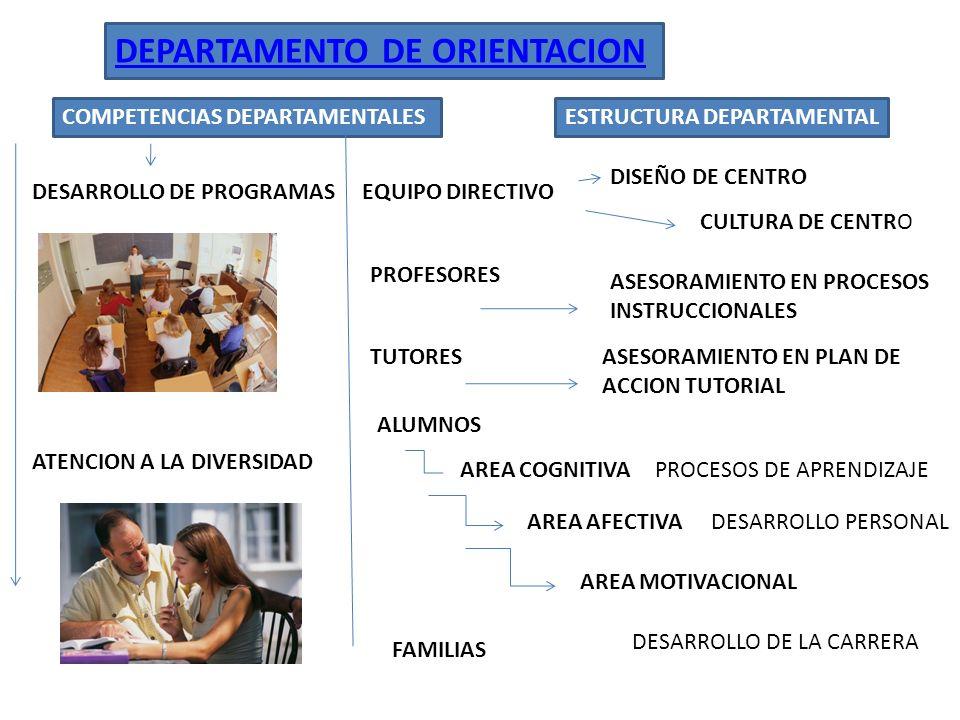 DEPARTAMENTO DE ORIENTACION COMPETENCIAS DEPARTAMENTALESESTRUCTURA DEPARTAMENTAL ATENCION A LA DIVERSIDAD DESARROLLO DE PROGRAMAS FAMILIAS PROFESORES