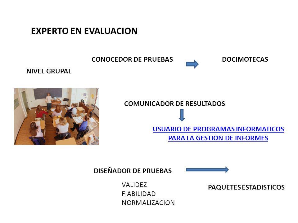 CONOCEDOR DE PRUEBAS DISEÑADOR DE PRUEBAS COMUNICADOR DE RESULTADOS DOCIMOTECAS PAQUETES ESTADISTICOS USUARIO DE PROGRAMAS INFORMATICOS PARA LA GESTIO