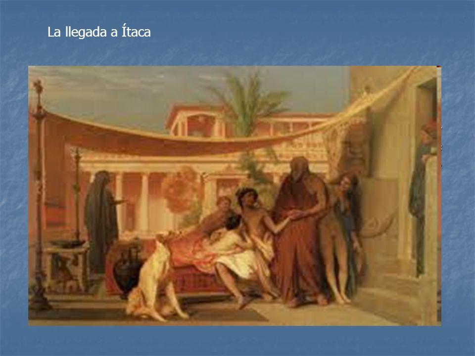Desembarca en Ítaca, Telémaco encuentra a su padre con la ayuda de Atenea. Ulises es ayudado por el porquerizo Eumeo (fiel servidor de Ulises), se vis