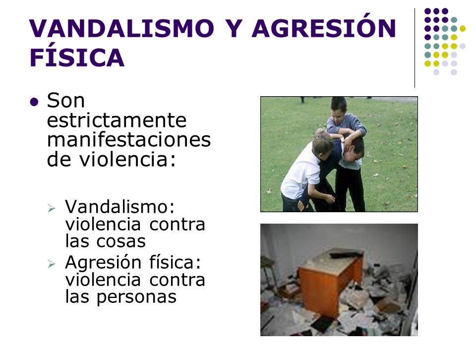 VANDALISMO Y AGRESIÓN FÍSICA Son estrictamente manifestaciones de violencia: Vandalismo: violencia contra las cosas Agresión física: violencia contra