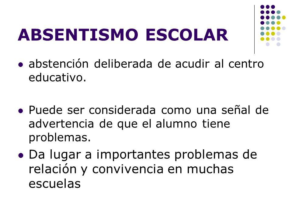 ABSENTISMO ESCOLAR abstención deliberada de acudir al centro educativo. Puede ser considerada como una señal de advertencia de que el alumno tiene pro