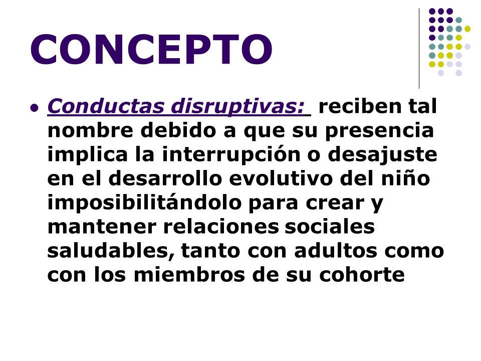CONCEPTO Conductas disruptivas: reciben tal nombre debido a que su presencia implica la interrupción o desajuste en el desarrollo evolutivo del niño i
