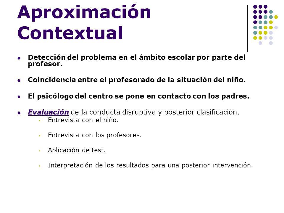 Aproximación Contextual Detección del problema en el ámbito escolar por parte del profesor. Coincidencia entre el profesorado de la situación del niño
