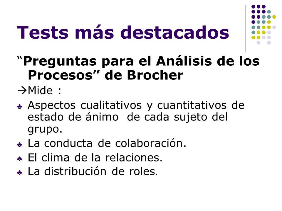 Tests más destacados Preguntas para el Análisis de los Procesos de Brocher Mide : Aspectos cualitativos y cuantitativos de estado de ánimo de cada suj