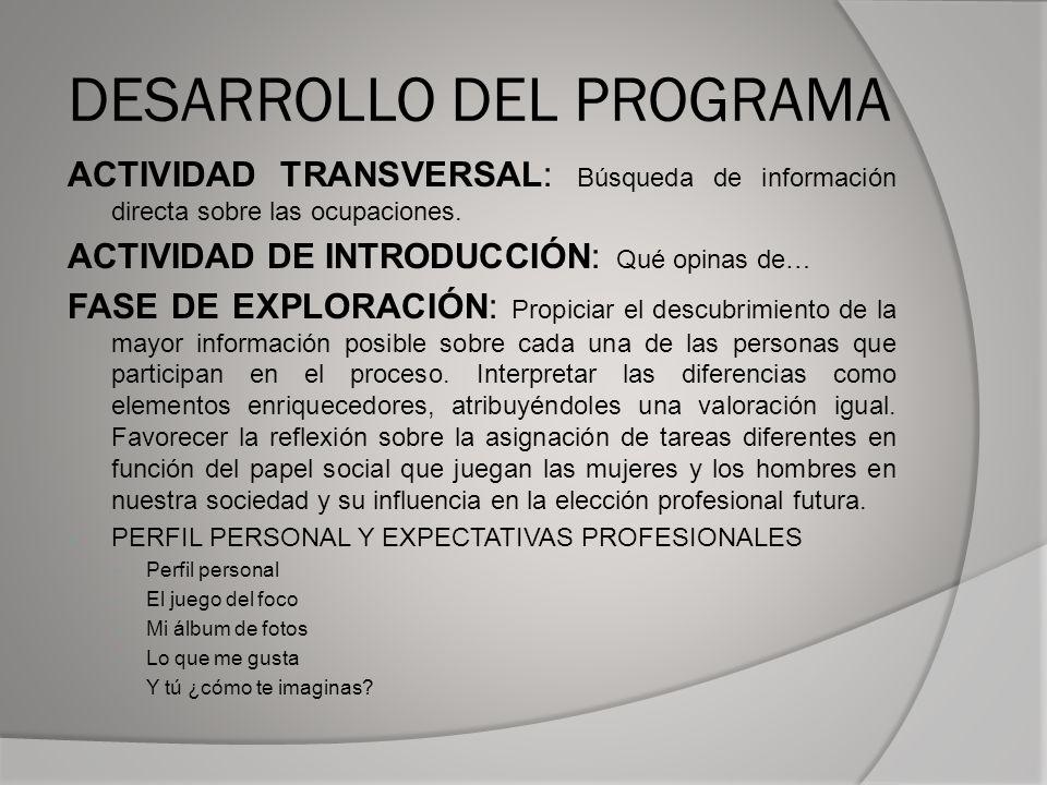 DESARROLLO DEL PROGRAMA ACTIVIDAD TRANSVERSAL: Búsqueda de información directa sobre las ocupaciones.