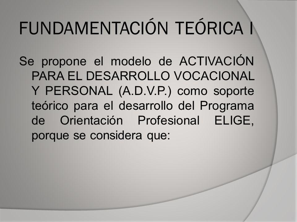 FUNDAMENTACIÓN TEÓRICA I Se propone el modelo de ACTIVACIÓN PARA EL DESARROLLO VOCACIONAL Y PERSONAL (A.D.V.P.) como soporte teórico para el desarrollo del Programa de Orientación Profesional ELIGE, porque se considera que: