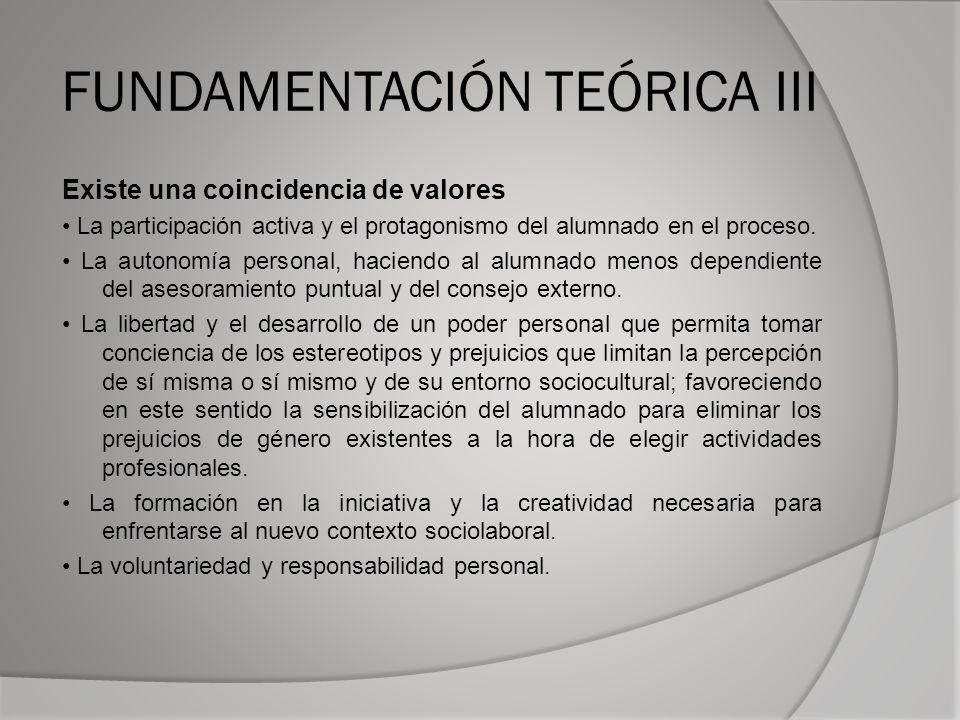 FUNDAMENTACIÓN TEÓRICA III Existe una coincidencia de valores La participación activa y el protagonismo del alumnado en el proceso.