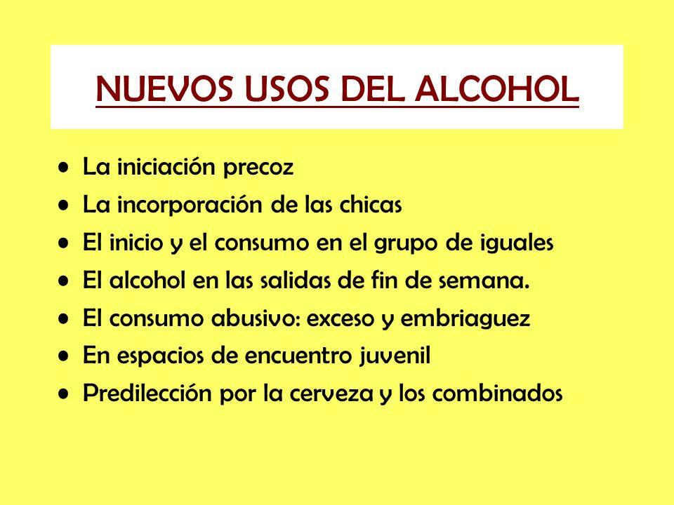 NUEVOS USOS DEL ALCOHOL La iniciación precoz La incorporación de las chicas El inicio y el consumo en el grupo de iguales El alcohol en las salidas de