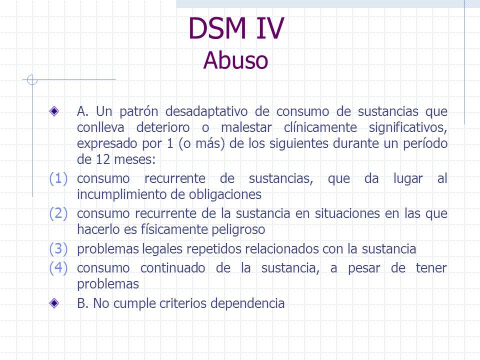 DSM IV Abuso A. Un patrón desadaptativo de consumo de sustancias que conlleva deterioro o malestar clínicamente significativos, expresado por 1 (o más