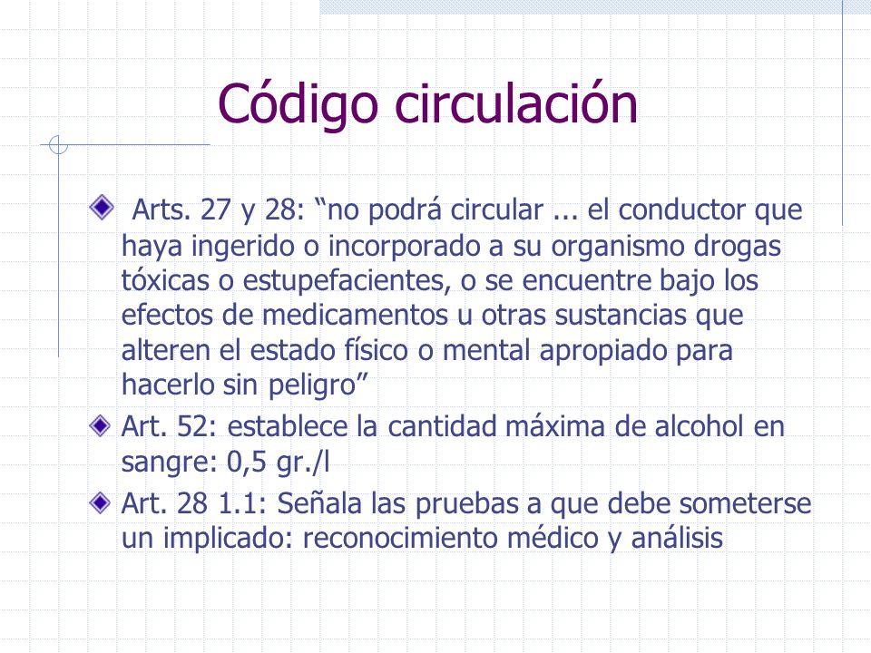 Código circulación Arts.27 y 28: no podrá circular...